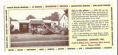 Early Ink Blotter Advertising Trenton NJ New Jersey Colonial Garage Tow Trucks