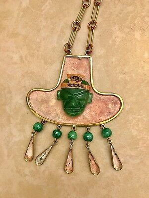 Vintage Mexican Aztec Carved Mask Necklace Tribal Jade Copper Brass Pendant God