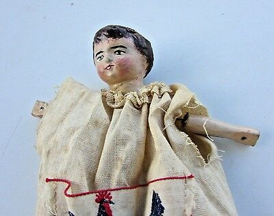 """Antique Paper Mache Doll Carved Wood Body Rare Boy 8"""" Milliners Primitive Puppet"""