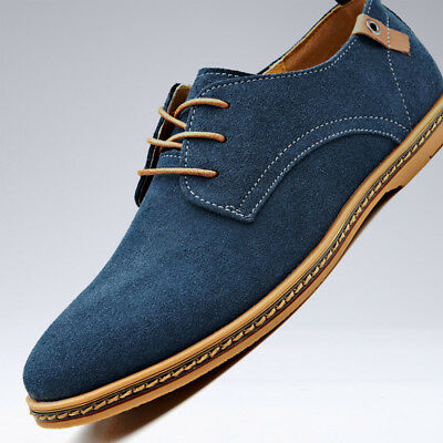 Men Fashion Sneake Oxfords Casual Shoes Suede Leather Shoes Lace Up Flats Loafer