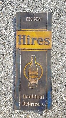 Antique Enjoy Hires Root Beer Embossed Metal Sign Bottle Country Store Soda Cola