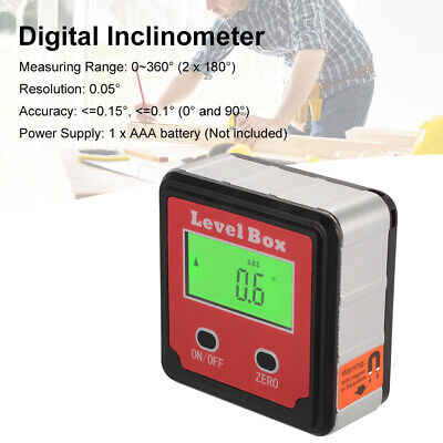 Digital Magnetic Base Inclinometer Mini Level Box 0-360° Angle Meter + Bag BI734