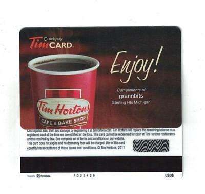 Tim Hortons 2011 Enjoy Compliments Grannbits Sterling Heights Mi USA Gift Card