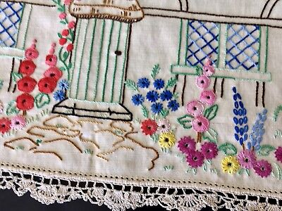 Superb Vintage Hand Embroidered Center Doilie Tray Cloth House Cottage Garden