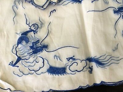 Rice Linen Placemat & Napkin Set Vintage Hand Embroidered Blue White Willow Styl