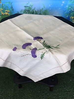Vintage Table Cloth Pure Irish Linen To Be Embroidered Thistle Estate Item