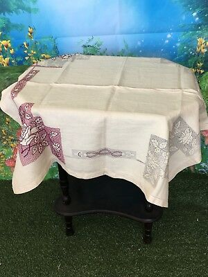 Vintage Pure Irish Linen Table Cloth To Be Embroidered Estate Item