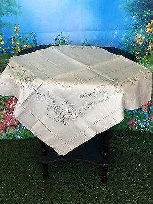 Vintage Pure Irish Linen Table Cloth To Be Embroidered Stunning Estate Item