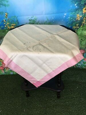 Vintage Pure Irish Linen Table Cloth To Be Embroidered Prink Trim Estate Item