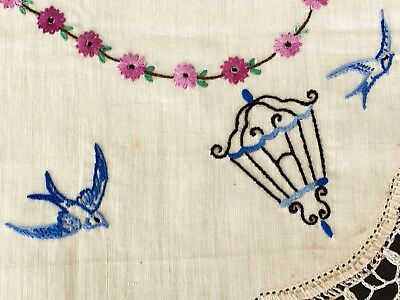 Vintage Unused/ Washed Linen Duchess Set Blue Birds & Cage Hand Embroidered