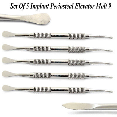 Set Of 5 Periosteal Elevator Molt 9 Implant Double Ended Gingival Tissue Lab New