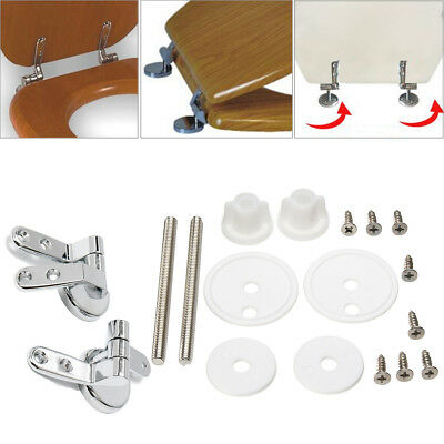 Toilet Seat Cover Hinges Replacement With Fittings Zinc Alloy Chrome Set 1 Pair
