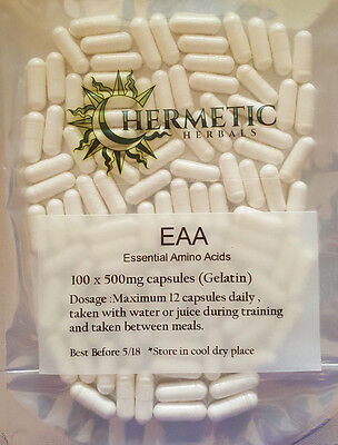 EAA Essential Amino Acids Blend - 100 x 500mg Capsules - Free postage