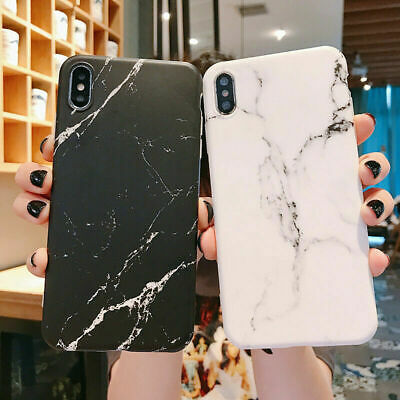 For iPhone XS Max XR XS 7 8 Plus 6 Granite Marble Pattern Rubber Soft Case Cover