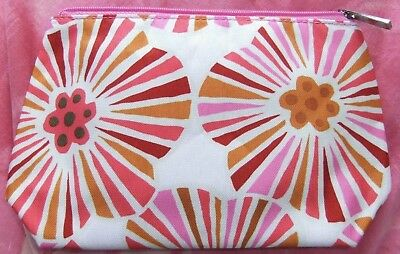 Clinique Pink / Orange Mix Floral Abstract Makeup / Cosmetics Bag, Brand New