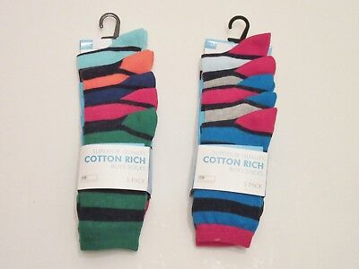 10 Pairs Boys Striped Design  Cotton Rich Socks assorted Colours