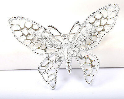 Sarah Coventry Silver Tone Butterfly Brooch, Vintage 1970s, designer, Signed