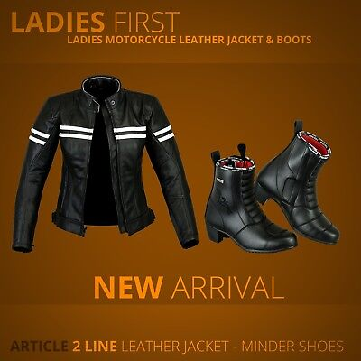 Ladies Motorcycle Armoure Leather Jacket Women Motorbike Touring boot Waterproof