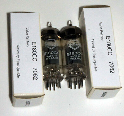 Pair NOS Mullard E180CC valves Matched Box anode double triodes  =5965 sim 7062