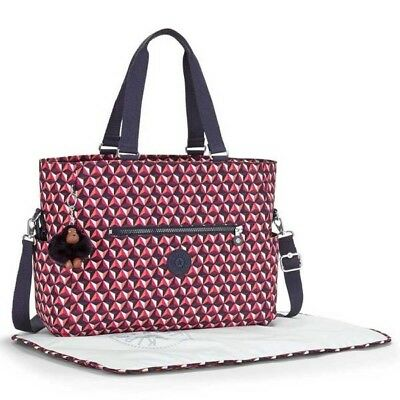 BNWT Kipling Adora Baby Diaper Bag Tote with Changing Mat - Funky Triangle
