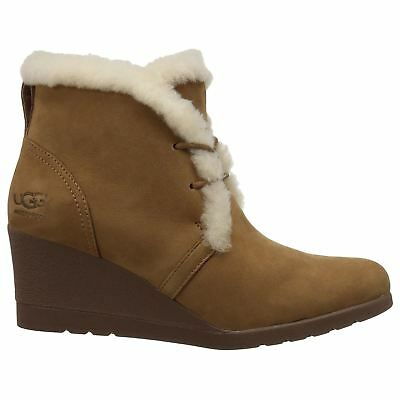 54f46912e7d UGG AUSTRALIA JEOVANA Chestnut Womens Suede Waterproof Wedge Ankle Lace-up  Boots