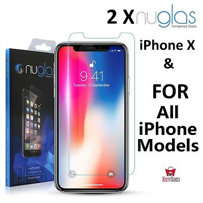 2x GENUINE NUGLAS Tempered Glass Screen Protector iPhone Xs Max XR 8 7 6s Plus