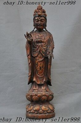 rare China temple lacquerware Old Wood carved Goddess Guanyin Kwan-yin Statue