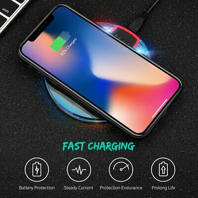 Qi Fast Wireless Charger Charging Pad For iPhone X 8 Plus &Galaxy S9 Plus Note 9