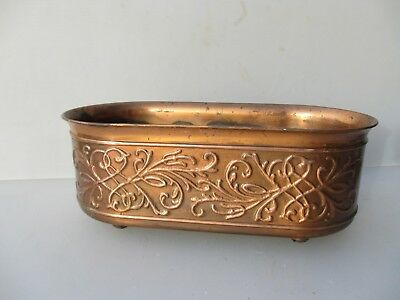 Copper Plated Plastic Trough Tub Planter Plant Pot Old Ornate
