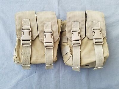Lot Of 2 Eagle Industries Saw 200 Round Ammo Pouch Duel Flap Khaki Seal Devgru