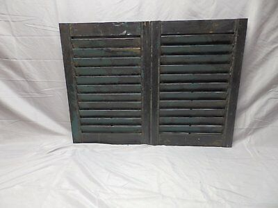 Pair Antique Wood Louvered Shutters House Window Shabby Vtg Chic 24x16    51-18P