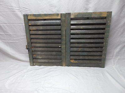 Pair Antique Shutters Wood Louvered House Window Shabby Vtg Chic 21x15  53-18P