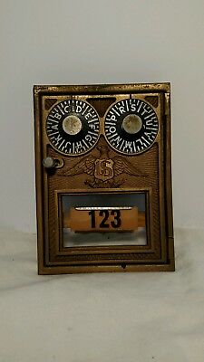 Vintage Double Dial Post Office Mail Box Door Frame Brass Eagle Corbin W/ Combo