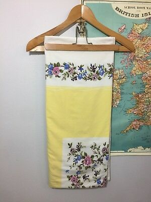 Vintage Shabby Chic Anthro 50s Tablecloth Yellow Floral 60s 44x52 EUC