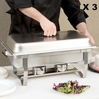 Chafing Dish Set Stainless Steel Catering Chafer 8 QT Full Size 3 Pack Buffet US