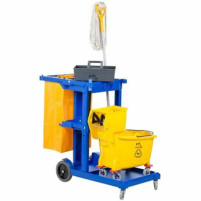 Commercial Janitorial Cart Cleaning Supplies Caddy Mop Bucket Broom Laundry Bag