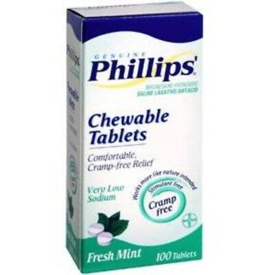 (1) Phillips Chewable Laxative Fresh Mint 100 Tablets 5/2017 Collectible
