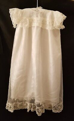 Vintage Tulle, Satin and Lace Baby Christening Baptism Gown