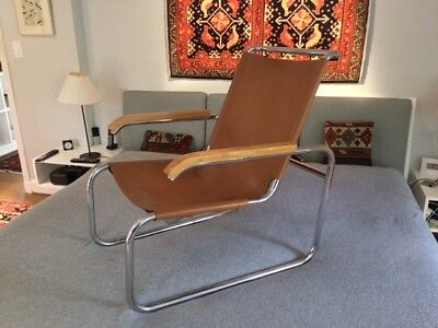 Breuer Vintage Mid Century Modern B35  Tan Leather Lounge Chair Thonet