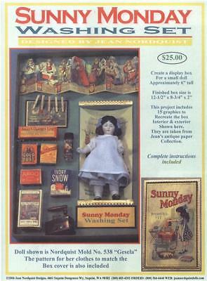 "Jean Nordquist's SUNNY MONDAY WASHDAY 6"" DOLL DISPLAY Box about 12"" x 9"" x 2"""