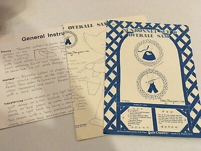 Vintage Sunbonnet Sue and Overall Sam Quilt Block Pillow Template & Instructions