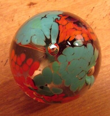 """Artist Signed 1994 """"JNL"""" Art Glass Paperweight Blue and Orange AS IS"""
