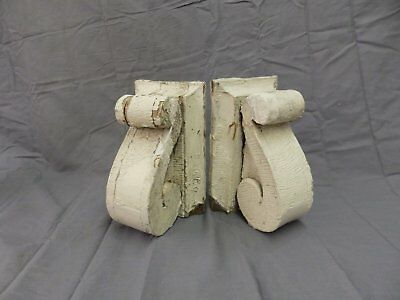 Antique Pair Wood Small Corbels Gingerbread Shabby Architectural Chic 62-18P