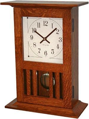 Mission Mantle Clock Amish Made Solid Oak Wood Pendulum Movement!