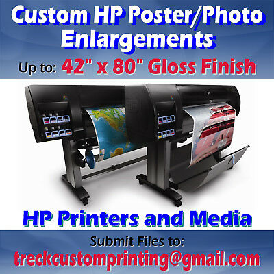 "Up to 42""x80"" Custom Printed HP Gloss Photo Paper Poster Print Image Enlargement"