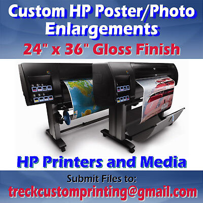 "Up to 24x36"" Custom Printed HP Glossy Photo Poster Print Image Enlargement"