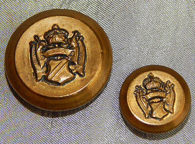 Vintage Mother Daughter Brass Buttons Family Crest  #035-C
