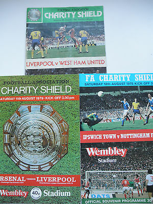 charity Shield Progs x3 1978,9,80  Forest,Ipswich, Liverpool, West Ham Arsenal