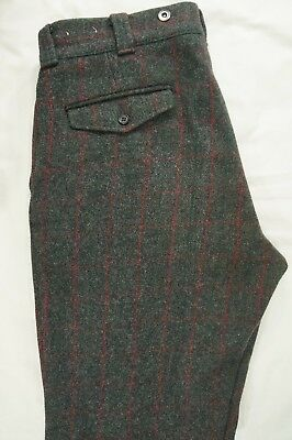 Vtg LL BEAN 100% Wool Plaid Hunting Trousers Pants Suspender Buttons - 36 X 30