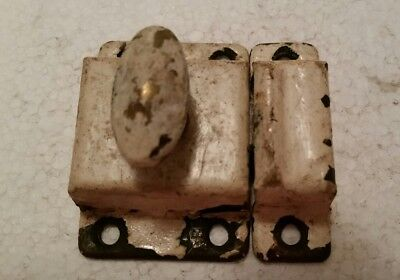 Vintage antique  metal cabinet cupboard latch with catch painted shabby (#82H)